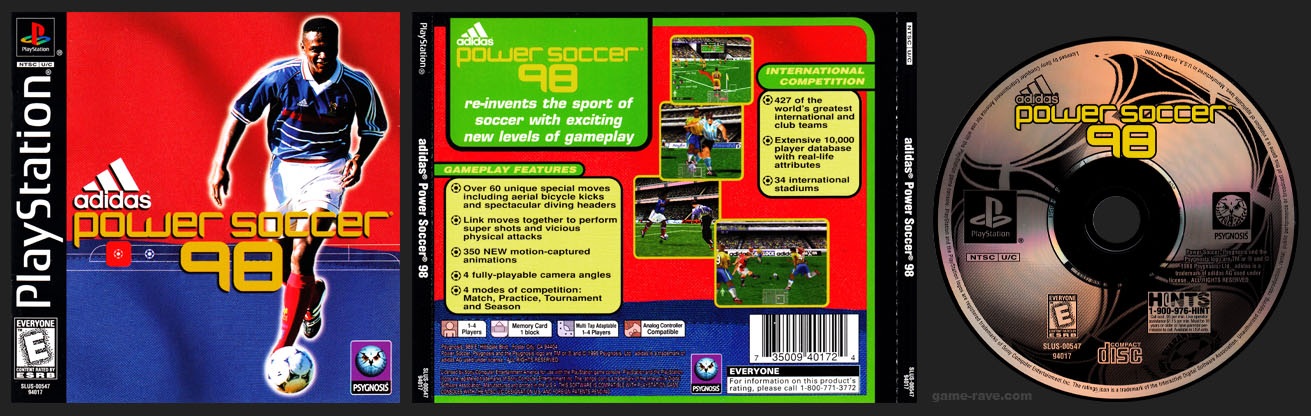 PSX PlayStation Adidas Power Soccer 98 1 Ring Release