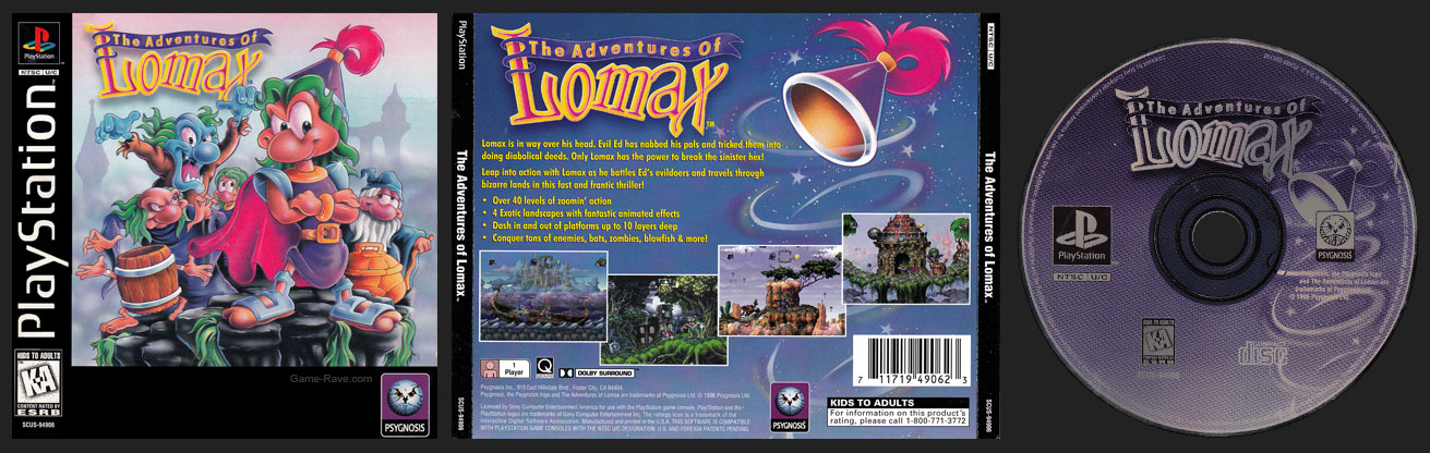 PSX PlayStation The Adventures of Lomax