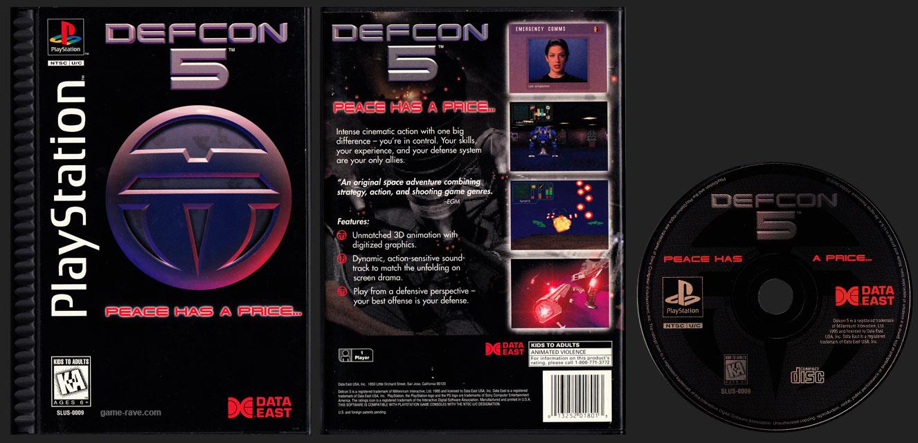 PSX PlayStation DEFCON 5 Black Label Plastic Ridged Long Box Retail Release
