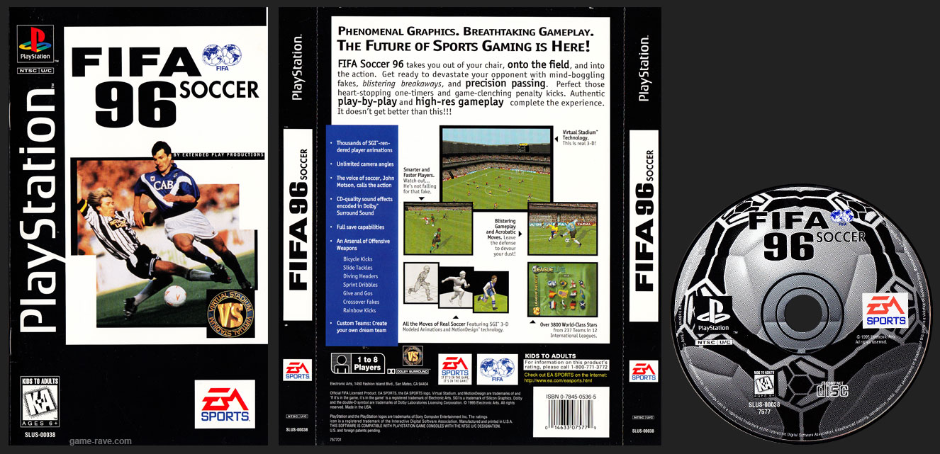PSX PlayStation FIFA Soccer 96 Long Box Clear Plastic Black Label Retail Release