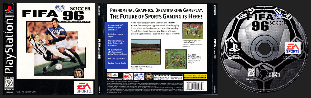 PSX PlayStation FIFA Soccer 96 Jewel Case Release Variant