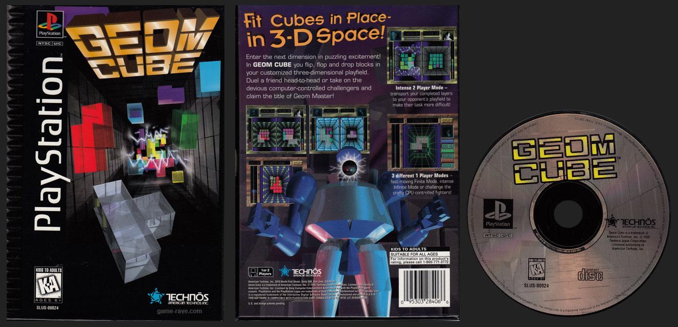 PSX PlayStation Geom Cube Black Label Flat Cardboard Long Box Retail Release