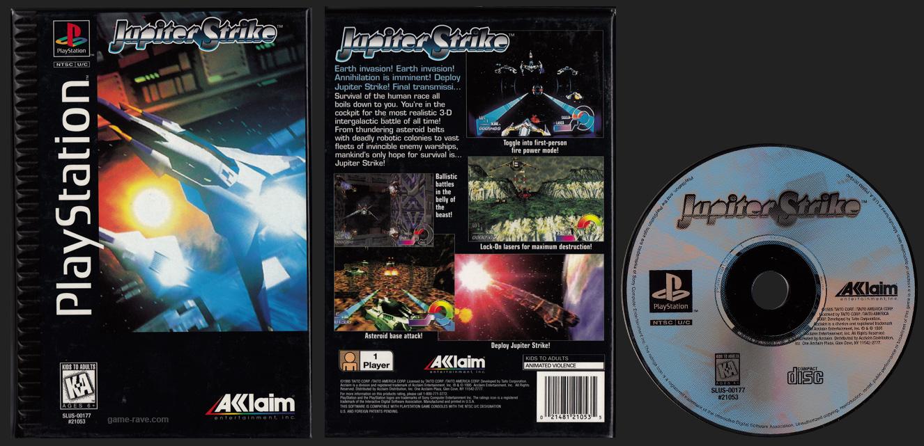 PSX PlayStation Jupiter Strike Black Label Flat Cardboard Retail Release