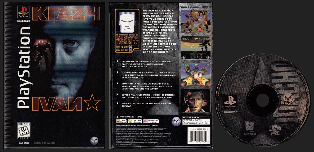 PSX PlayStation Krazy Ivan Black Label Flat Cardboard Retail Release