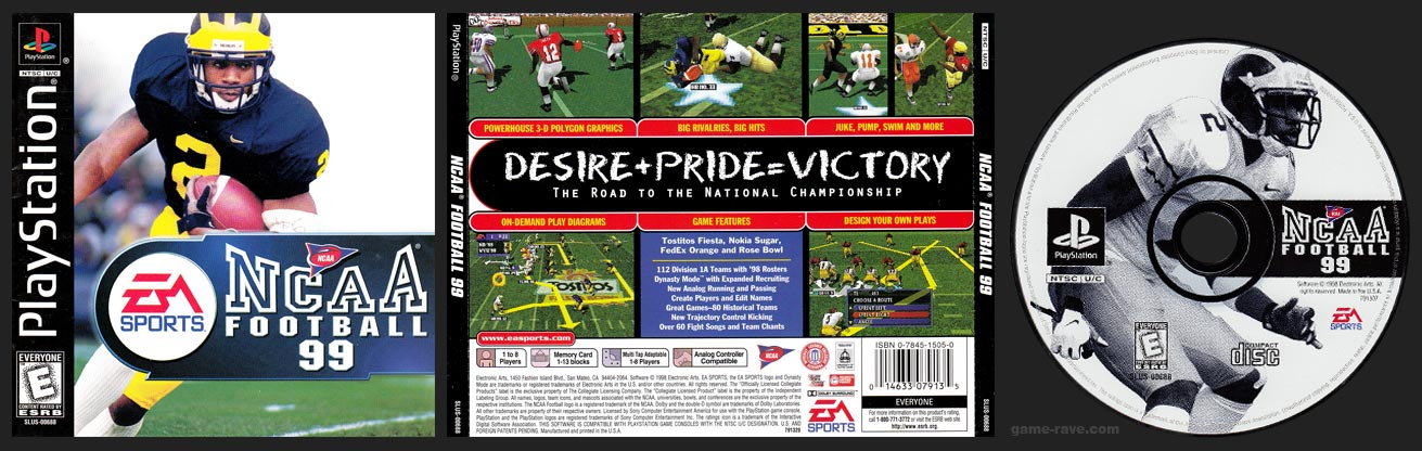 PSX PlayStation NCAA Football 99 Black Label Retail Release