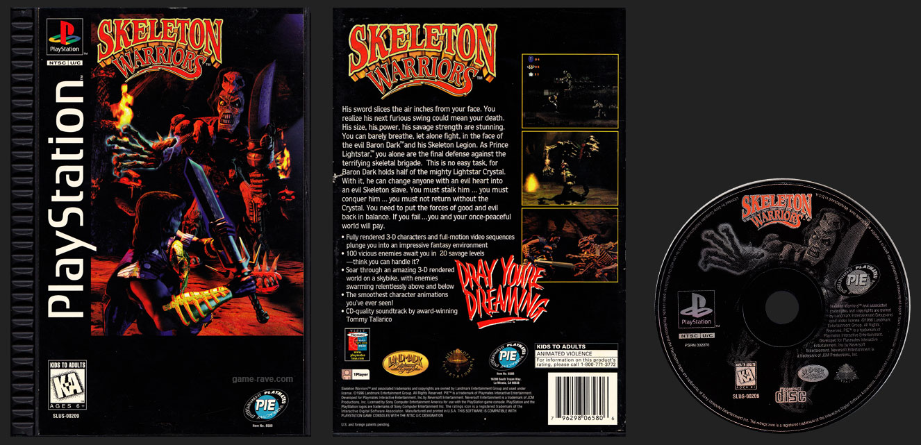 PSX PlayStation Skeleton Warriors Plastic Ridged Long Box Black Label Release