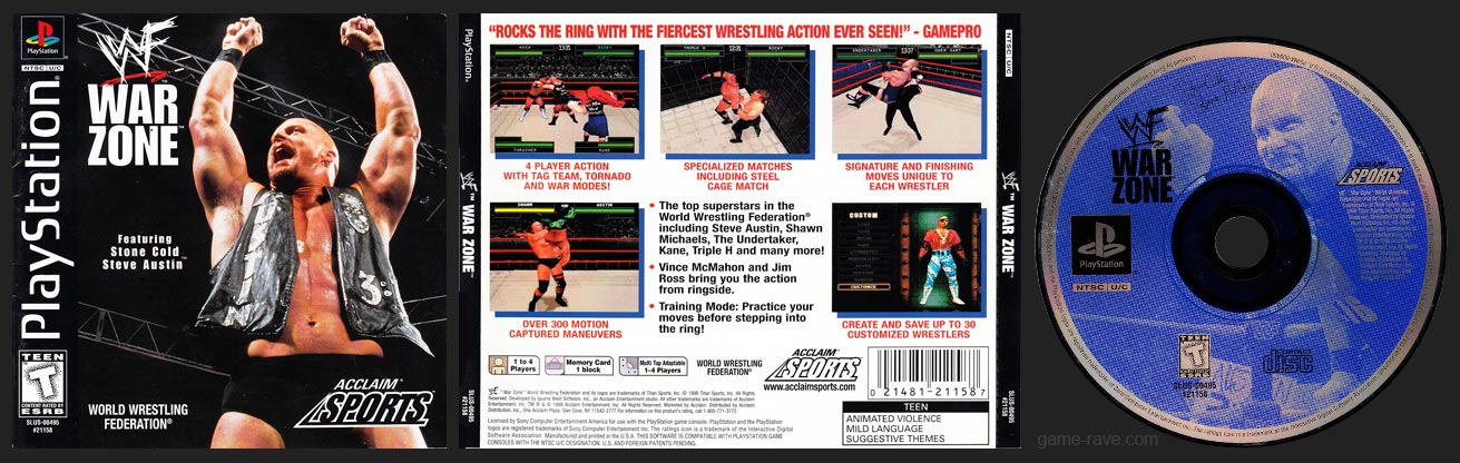 PSX PlayStation WWF War Zone Black Label Retail Release
