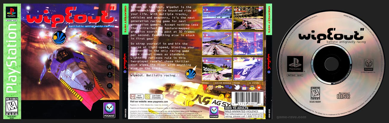 PSX PlayStation Wipeout Greatest Hits Sony Version Green Label