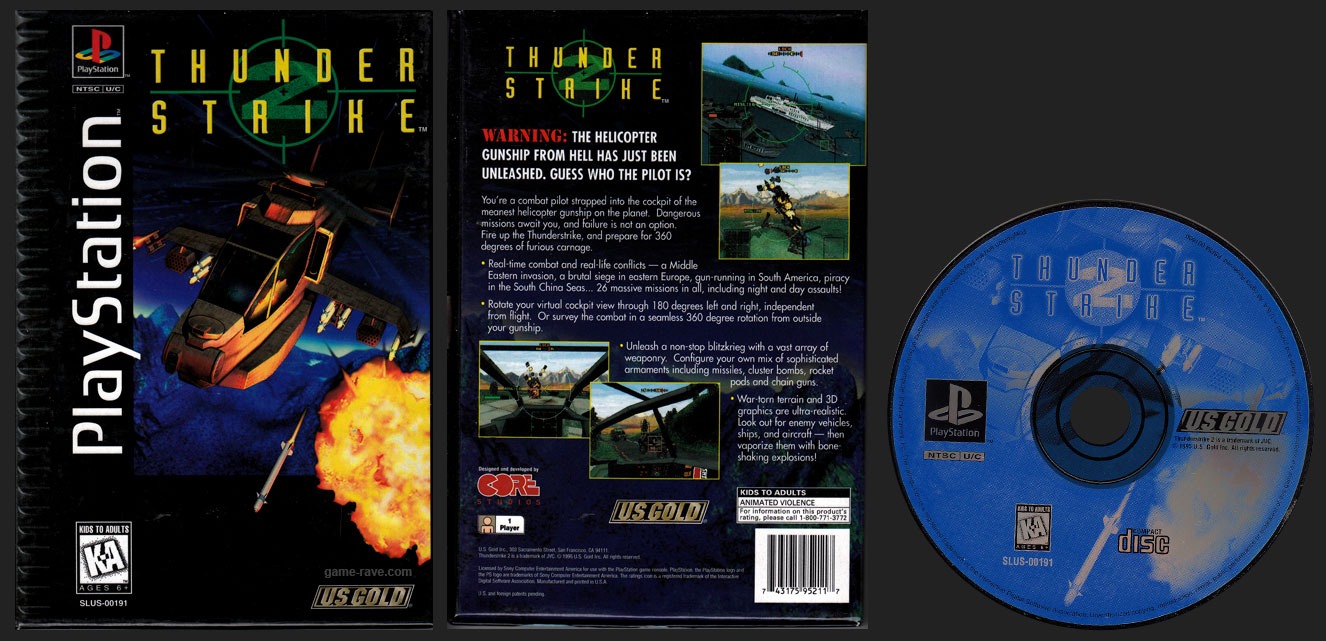 PSX PlayStation Thunder Strike 2 Flat Cardboard Release Black Label Retail Release