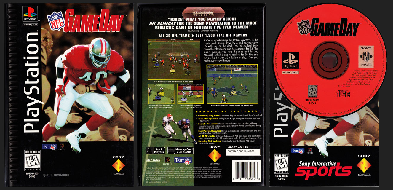 PSX PlayStation NFL Game Day Flat Cardboard Release Variant Sony Interactive Sports Interactive Manual