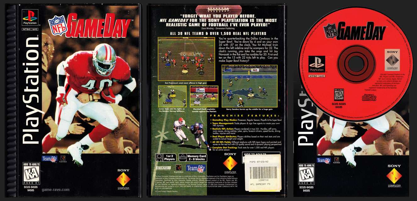 PSX PlayStation NFL Game Day Plastic Ridged Long Box Release