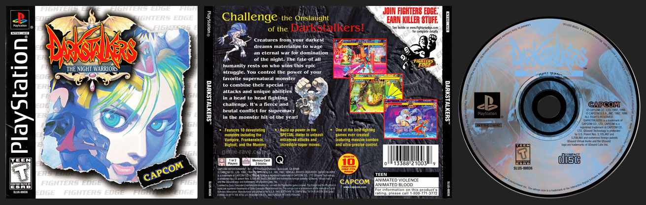 PSX PlayStation Darkstalkers The Night Warriors Fighters Edge Label Retail Release