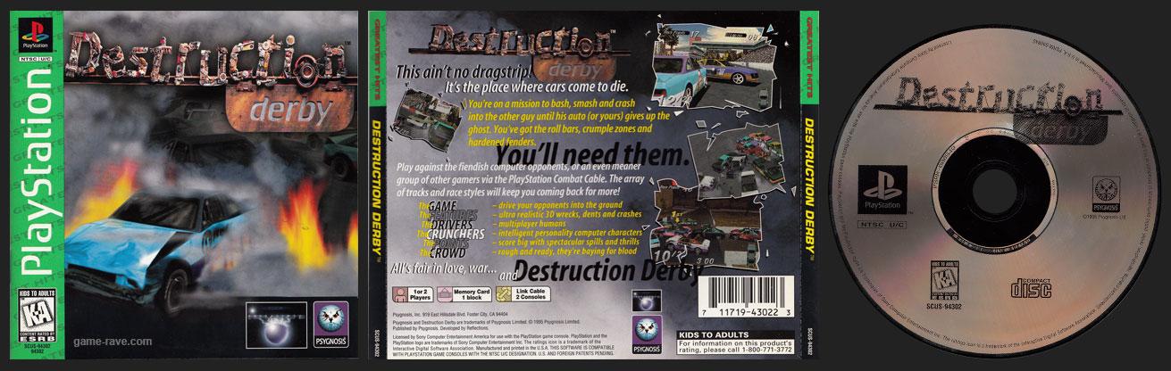 PSX PlayStation Destruction Derby Greatest Hits Release