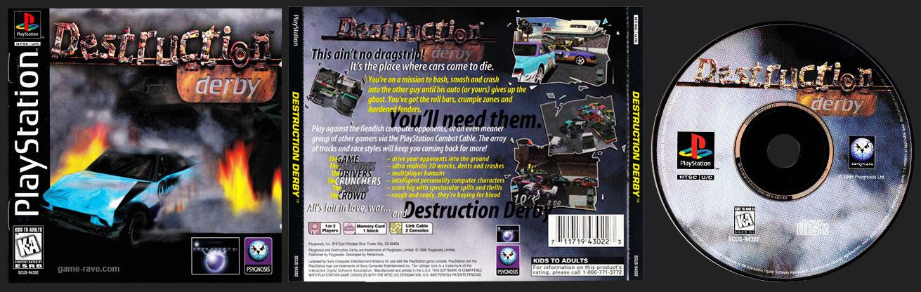 PSX PlayStation Destruction Derby Black Label Jewel Case Variant Retail Release
