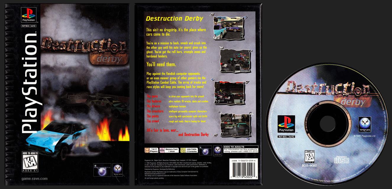 PSX PlayStation Destruction Derby Black Label Long Box Retail Release