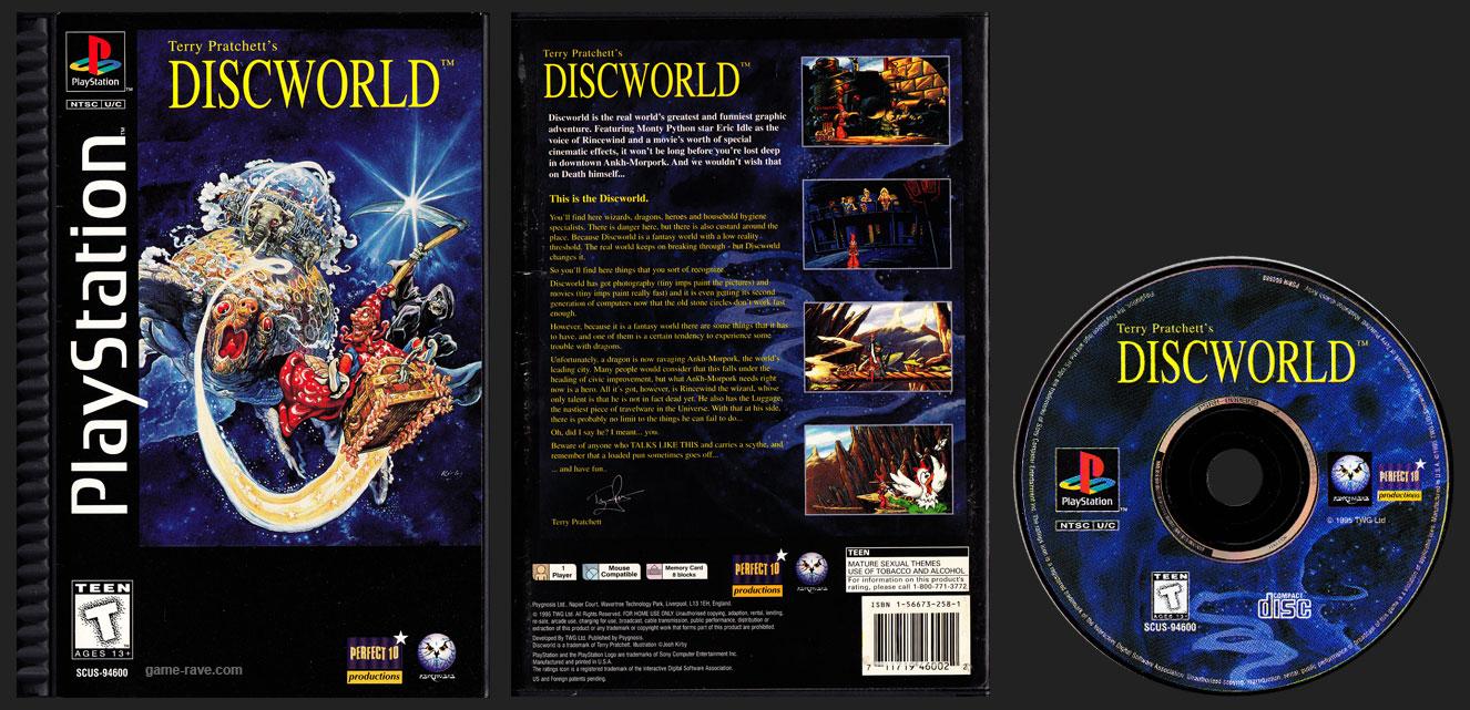PSX PlayStation Terry Pratchett's Discworld Black Label Plastic Ridged Long Box Release