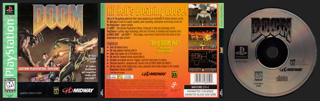 PSX PlayStation Doom Greatest Hits Retail Release