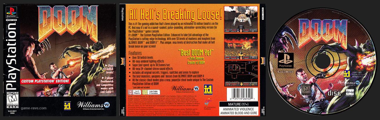 PSX PlayStation Doom Jewel Case Black Label Retail Release variant