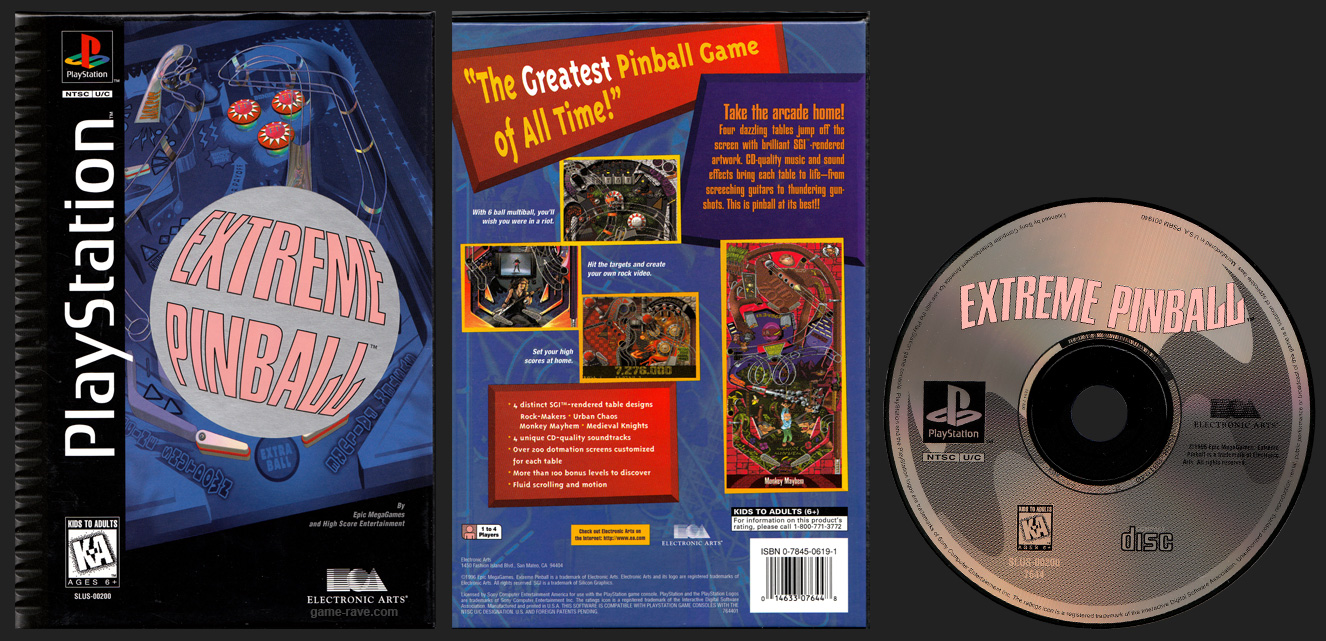 PSX PlayStation Extreme Pinball Flat Cardboard Long Box Black Label Retail Release