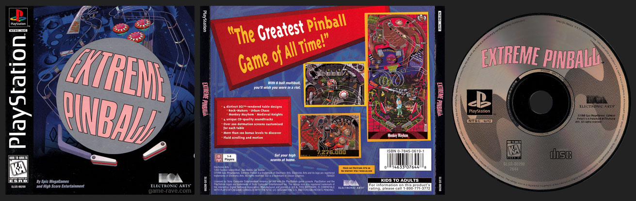 PSX PlayStation Extreme Pinball Jewel Case Black Label Retail Release Variant