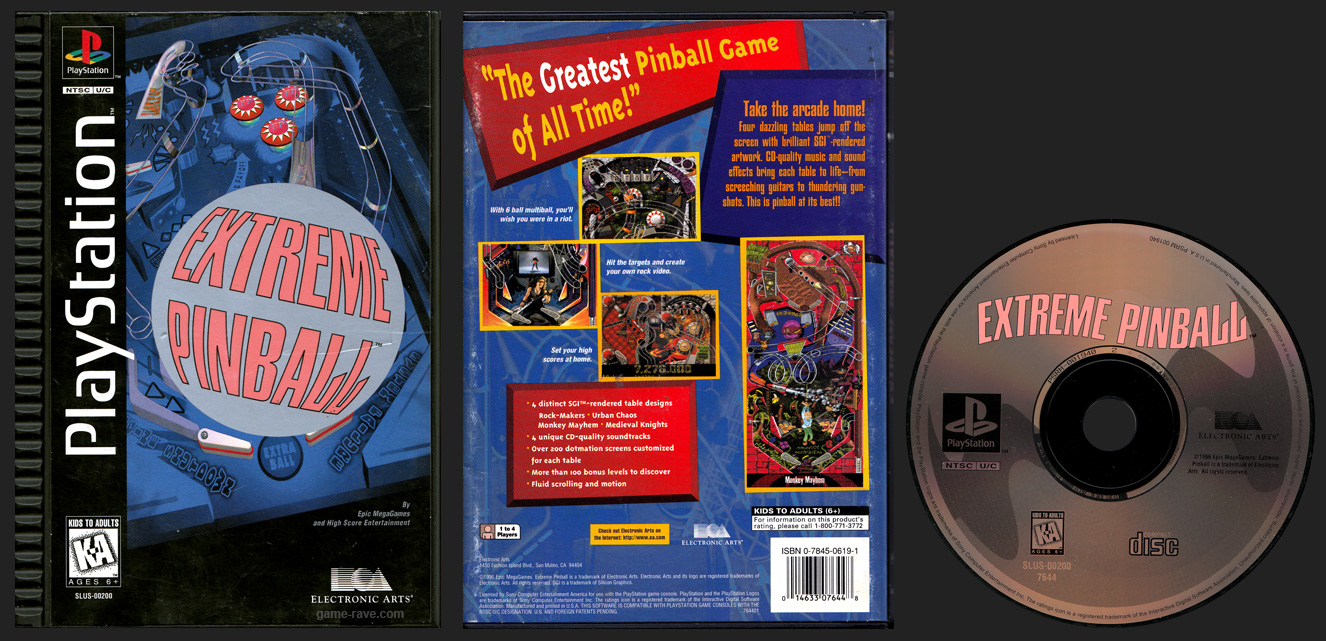 PSX PlayStation Extreme Pinball Plastic Ridged Long Box Black Label Retail Release