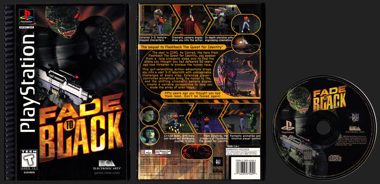 PSX PlayStation Fade to Black Plastic Long Box Black Label Retail Release