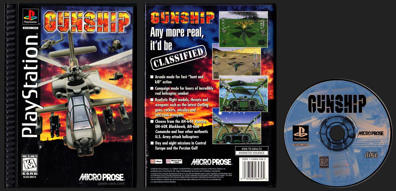 PSX PlayStation Gunship Ridged Plastic Long Box Black Label Retail Release