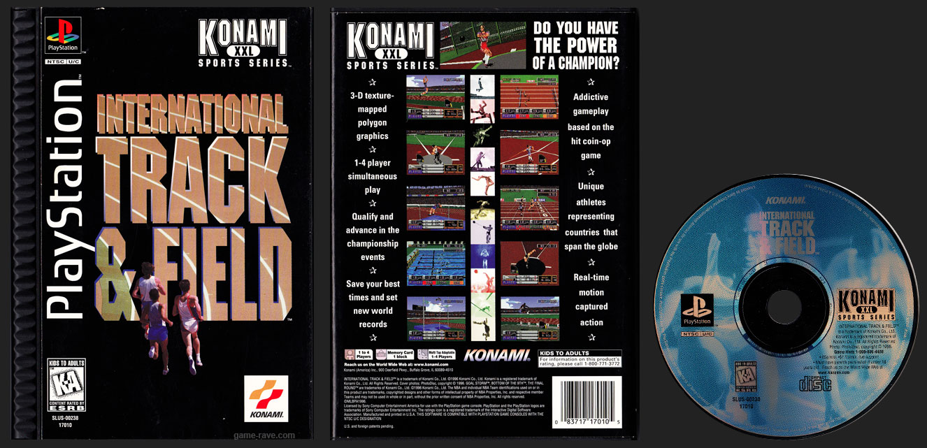 PSX PlayStation International Track & Field Plastic Ridged Long Box Black Label Retail Release
