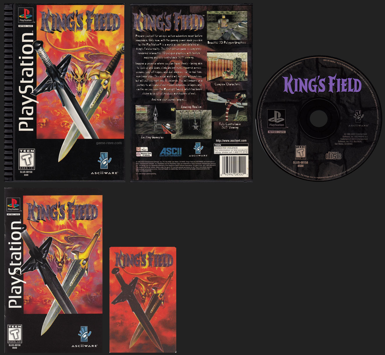 PSX PlayStation King's Field Plastic Ridged Long Box Black Label Retail Release with Phone Card