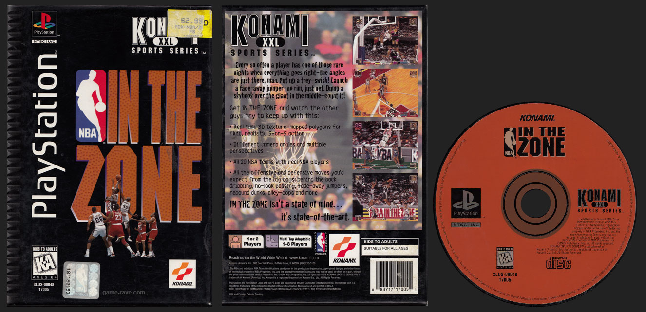 PSX PlayStation NBA In The Zone Flat Cardboard Long Box Black Label Retail Release