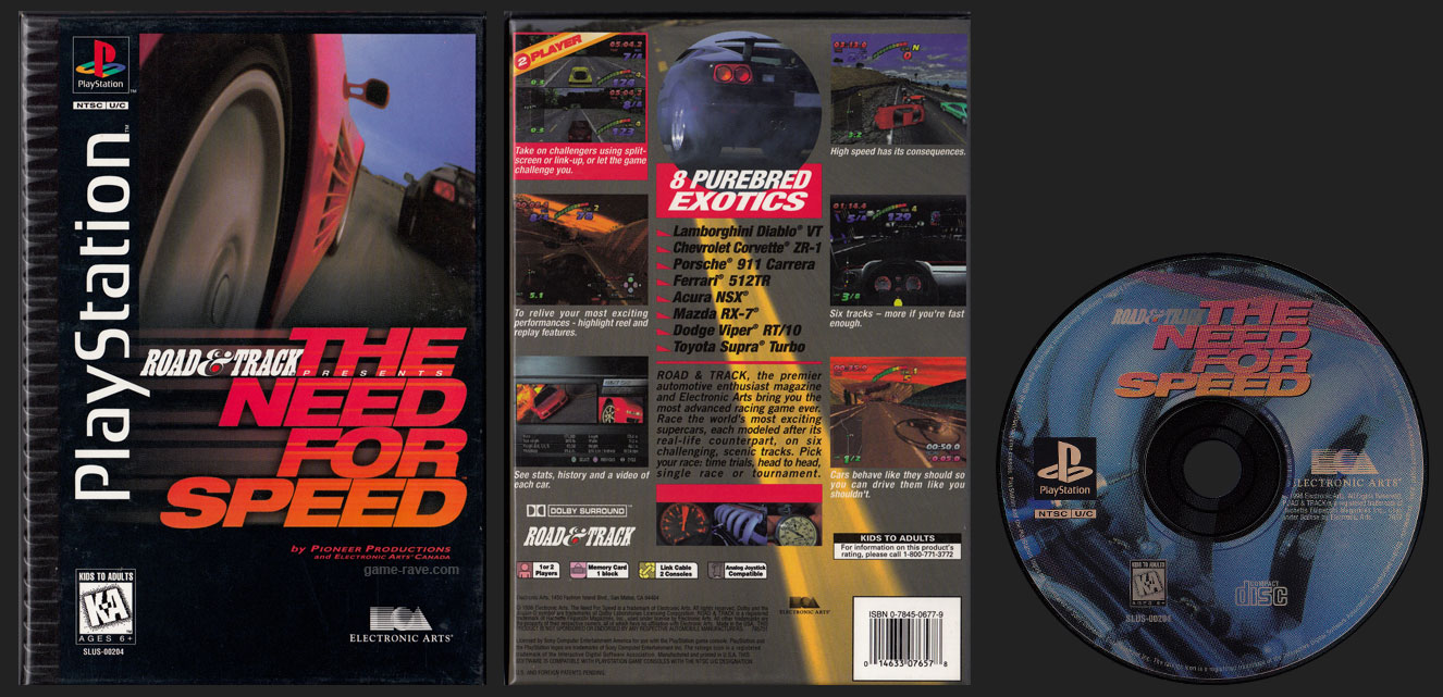 PSX PlayStation Road & Track Presents The Need For Speed Flat Cardboard Long Box Release