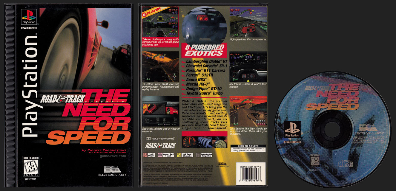 PSX PlayStation Road & Track Presents The Need For Speed Black Label Plastic Ridged Long Box Retail Release