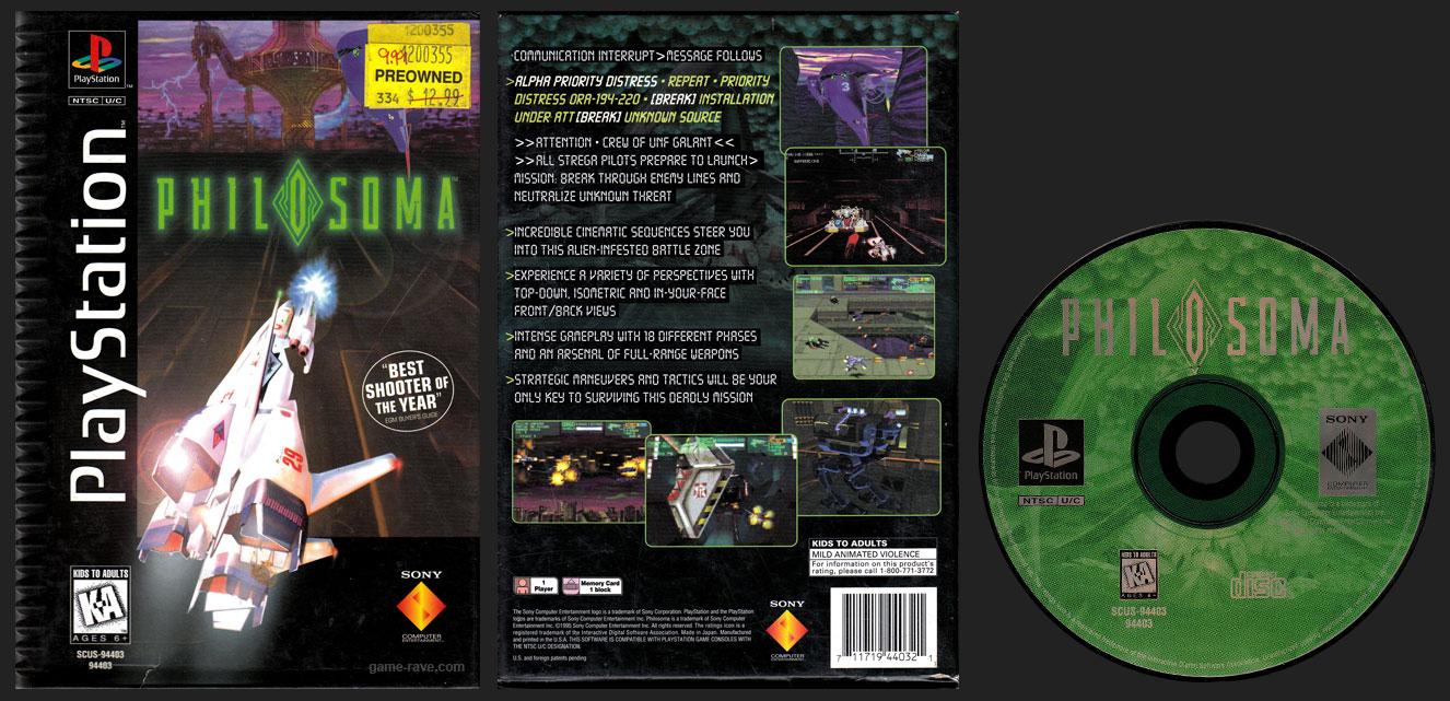 PSX PlayStation Philosoma Long Box Flat Cardboard Black Label Retail Release