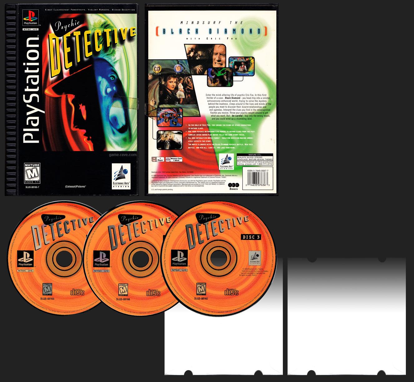 PSX PlayStation Long Box Psychic Detective Black Label Retail Release