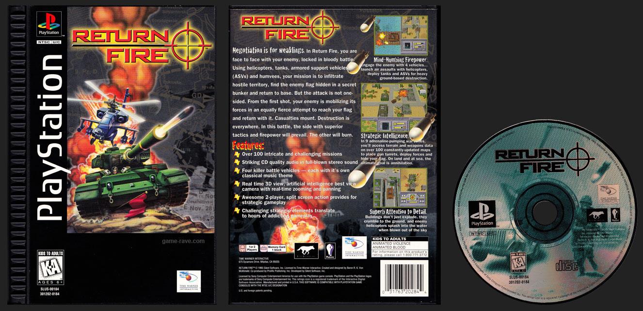 PSX PlayStation Return Fire Plastic Ridged Long Box Release Black Label