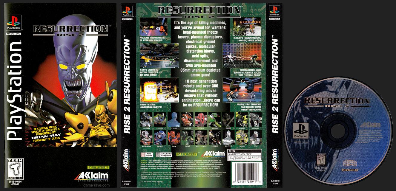 PSX PlayStation Resurrection: Rise 2 Clear Case Plastic Long Box Black Label Retail Release
