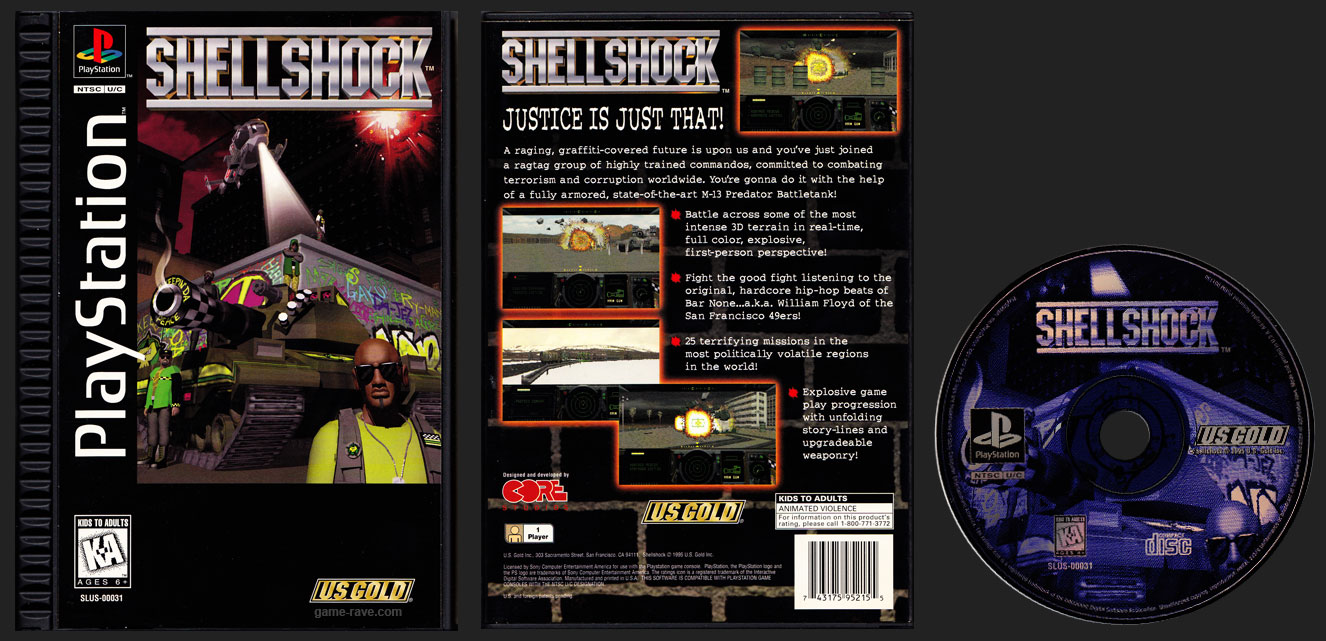 PSX PlayStation Shell Shock Plastic Ridge Long Box Black Label Retail Release