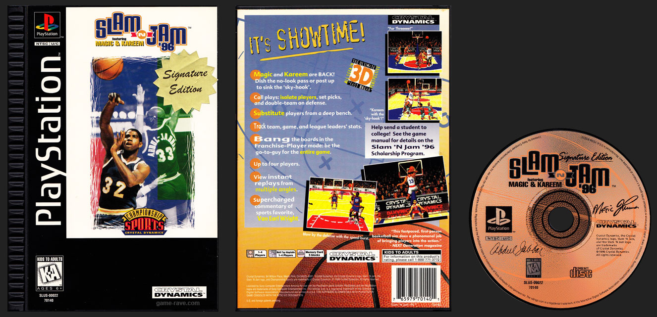 PSX PlayStation Slam ' Jam Plastic Ridged Long Box Release