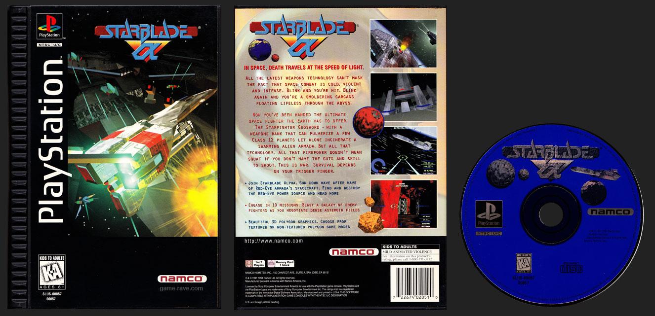 PSX PlayStation Starblade Alpha Plastic Ridged Long Box Black Label Retail Release