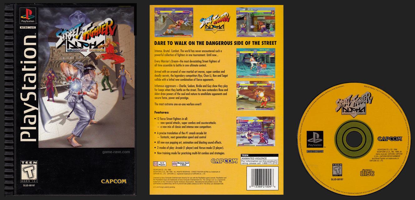 PSX PlayStation Street Fighter Alpha Warrior's Dreams Plastic Ridged Long Box Release
