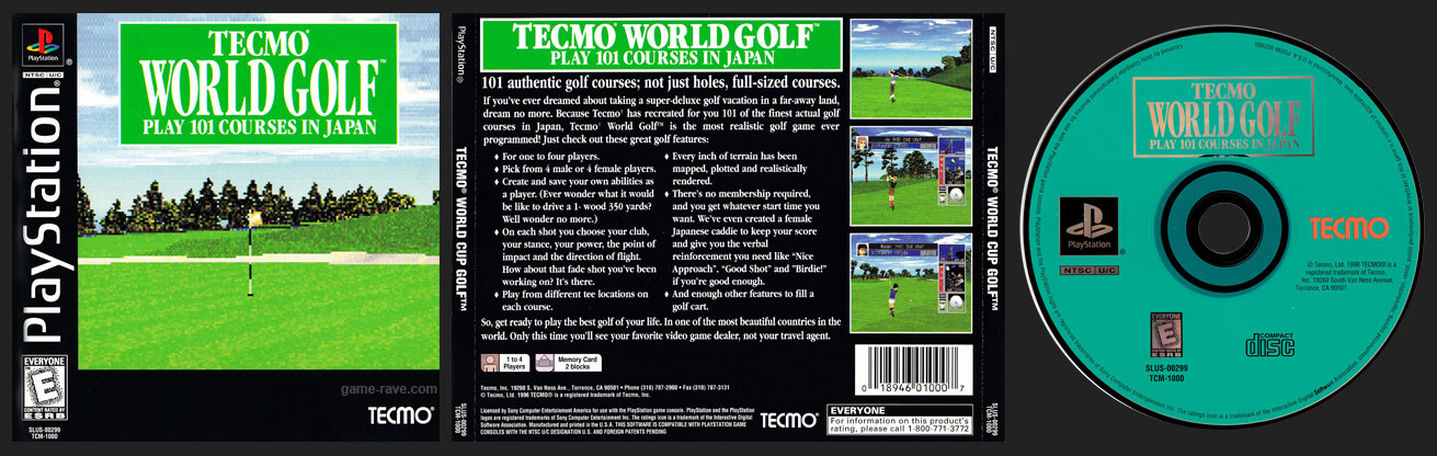 PSX PlayStation Tecmo World Golf Play 101 Courses In Japan Black Label Jewel Case Release