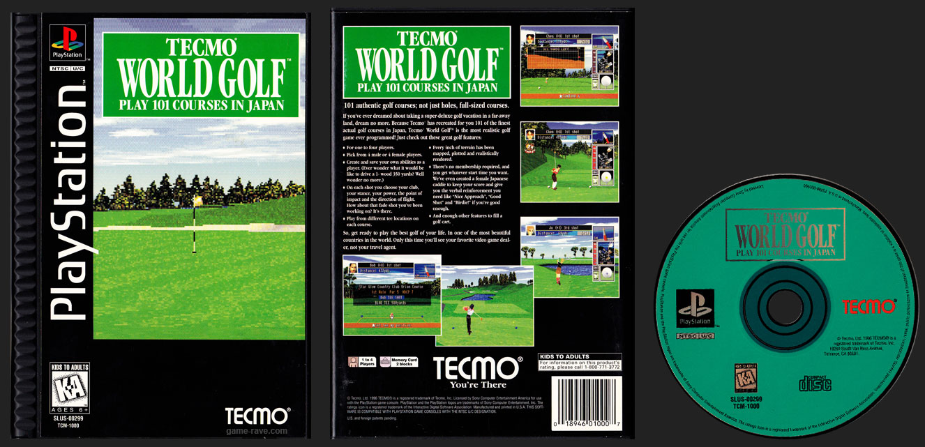 PSX PlayStation Tecmo World Golf - Play 100 Courses In Japan - Black Label Plastic Ridged Long Box Release