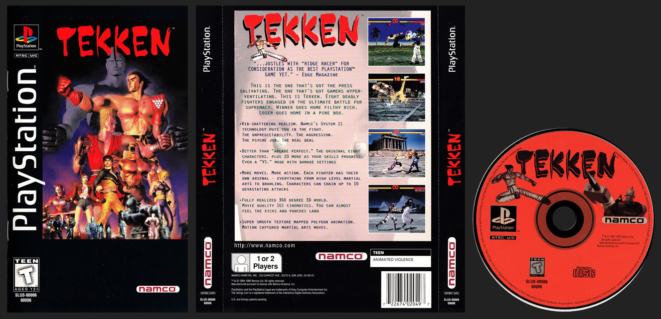 PSX PlayStation Tekken Clear Case Long Box Black Label Retail Release