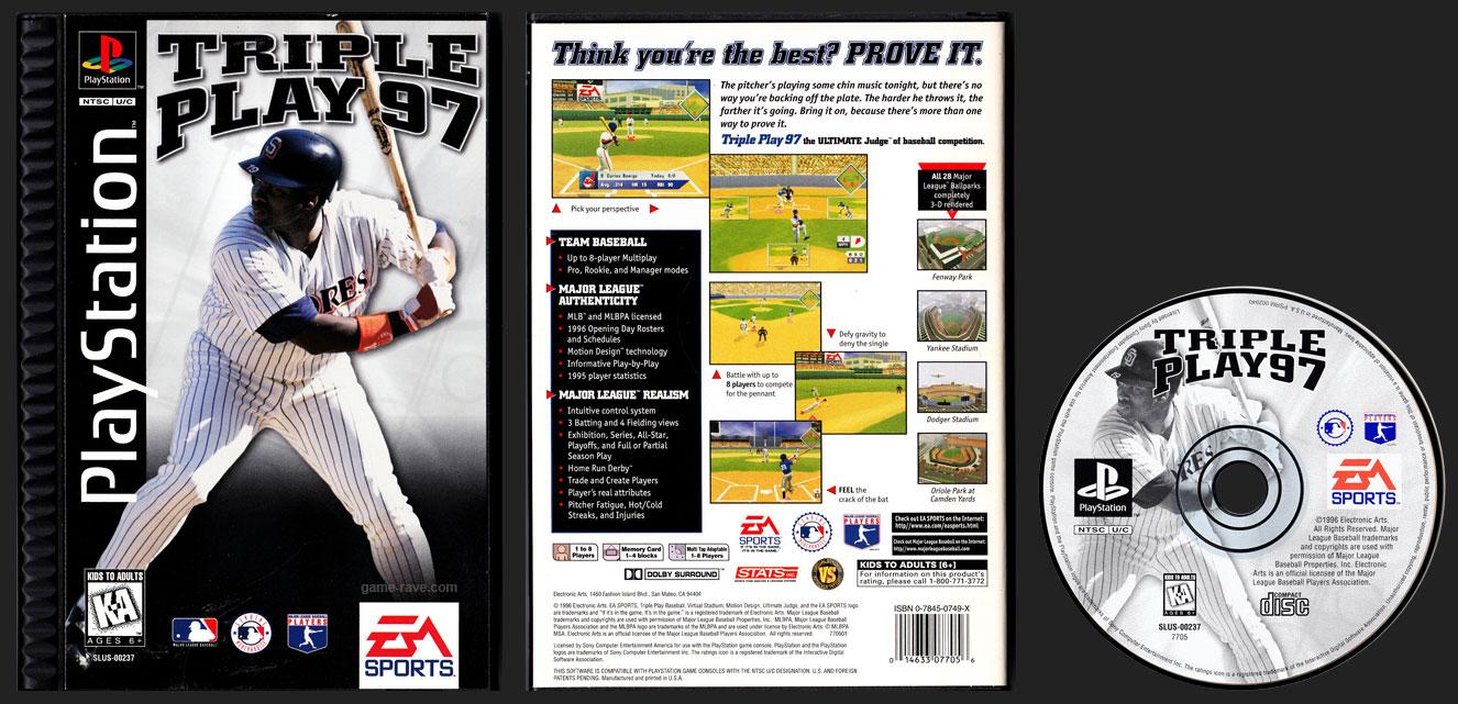 PSX PlayStation Triple Play 97 Plastic Ridged Release Long Box