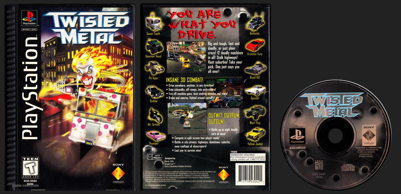 PSX PlayStation Twisted Metal Plastic Ridged Long Box Black Label Retail Release