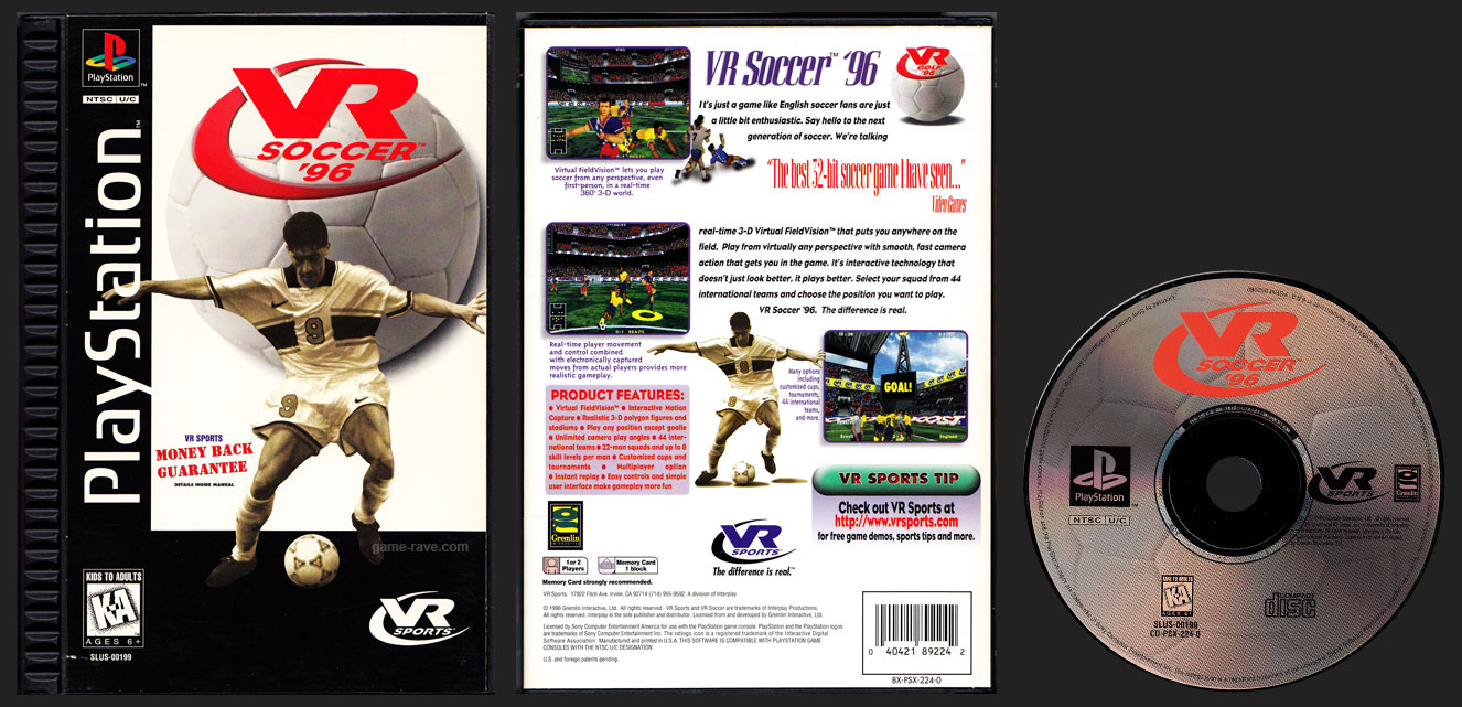 PSX PlayStation VR Soccer '96 Black Label Plastic Ridged Retail Release