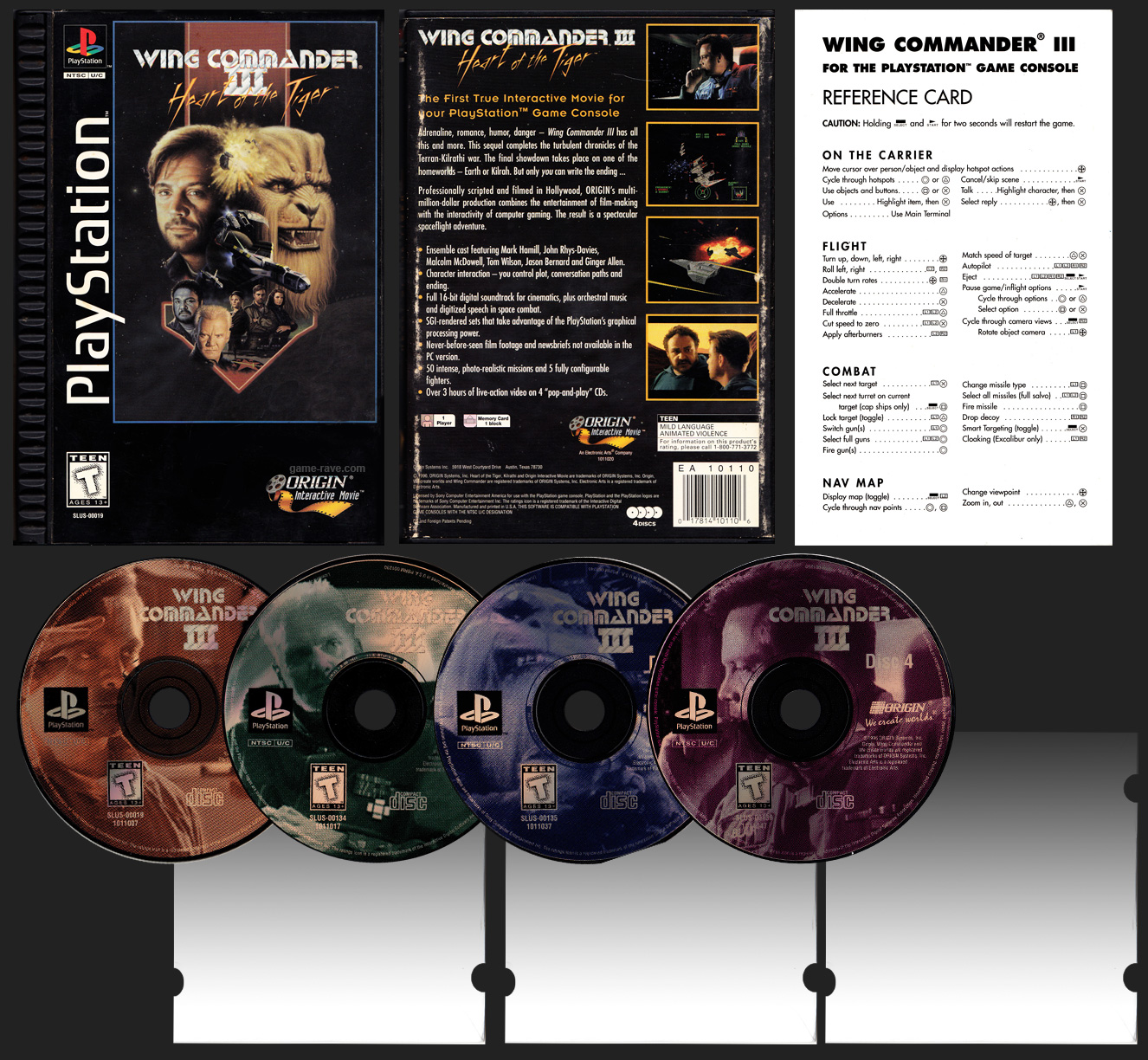 PSX PlayStation Wing Commander III Heart of the Tiger Plastic Ridged Long Box Black Label Retail Release