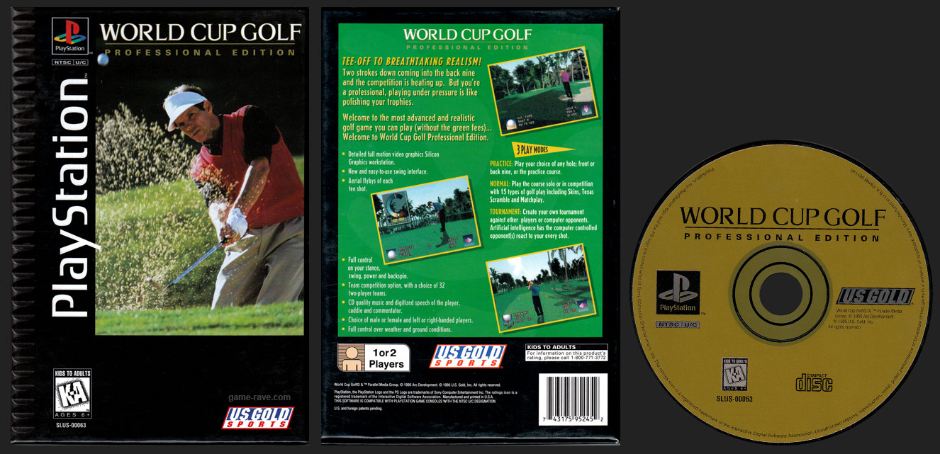 PSX PlayStation World Cup Golf Professional Edition Flat Cardboard Long Box Release