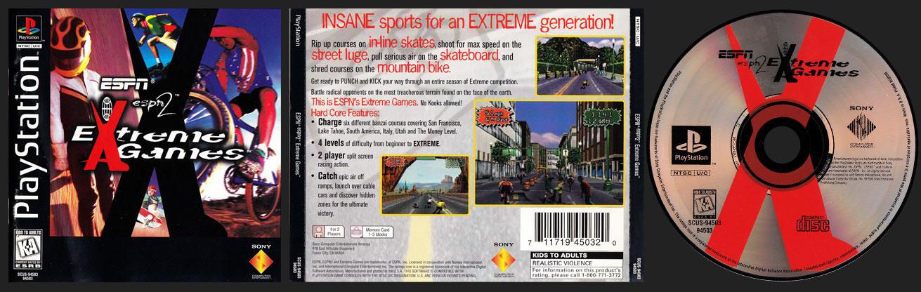 PSX PlayStation ESPN ESPN 2 Extreme Games Black Label Jewel Case Retail Release