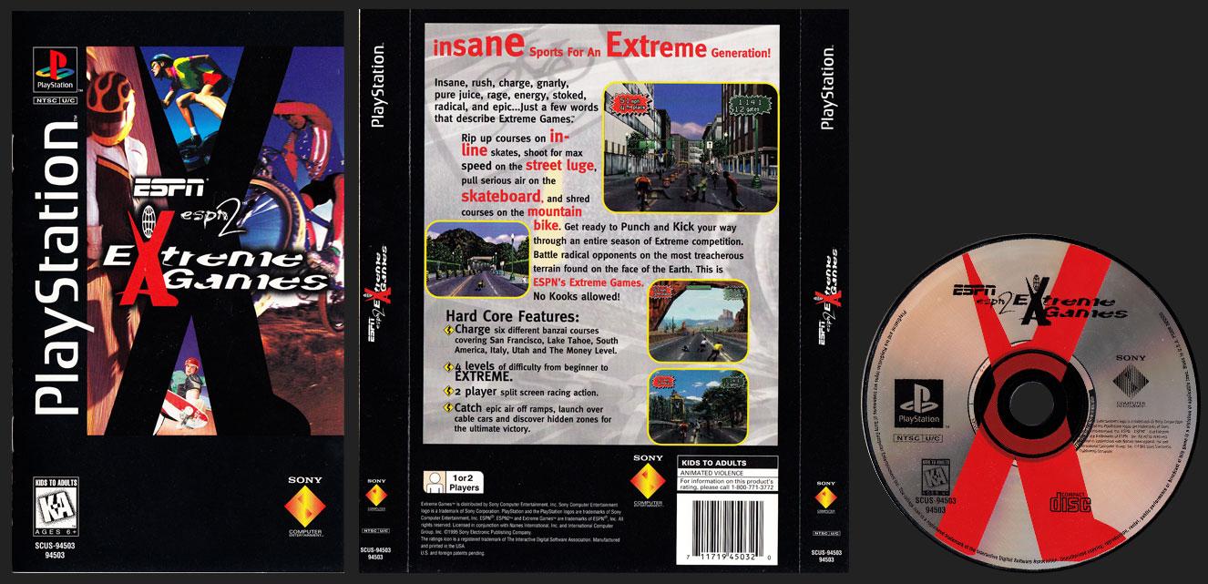 PSX PlayStation ESPN ESPN 2 Extreme Games Clear Plastic Long Box Black Label Retail Release